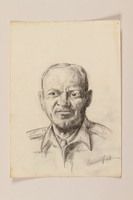 2012.471.64 front Pencil portrait  of a middle aged uniformed officer by a Jewish soldier, 2nd Polish Corps  Click to enlarge