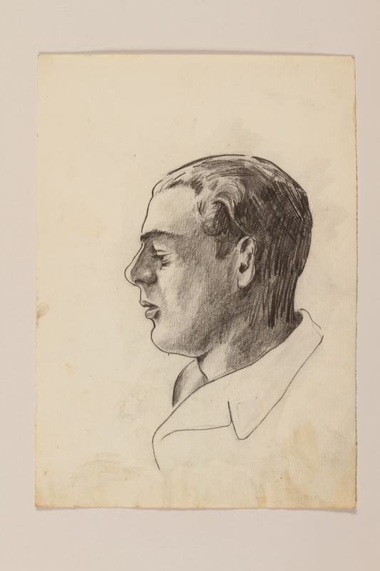 2012.471.63 front Portrait drawing of a young man in left profile by a Jewish soldier, 2nd Polish Corps