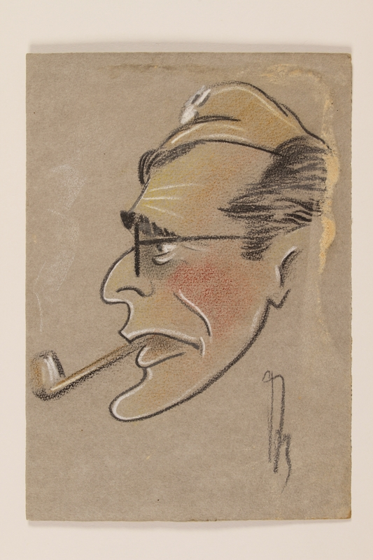 2012.471.80 front Self portrait caricature by a Jewish soldier, 2nd Polish Corps