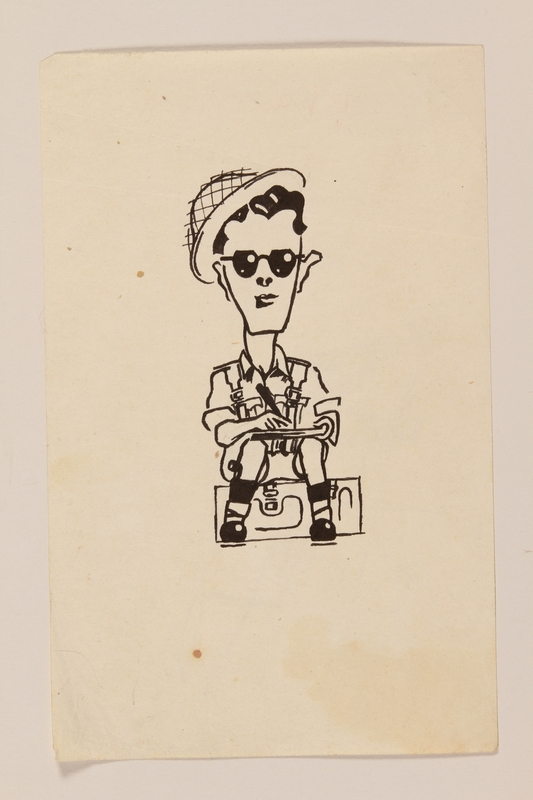 2012.471.70 front Self portrait caricature of a soldier sketching by a Jewish soldier, 2nd Polish Corps