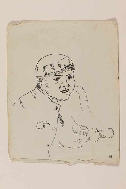 2012.471.39 front Sketch of a young man in a cap created by a young Jewish soldier, 2nd Polish Corps