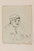 2012.471.39 front Sketch of a young man in a cap created by a young Jewish soldier, 2nd Polish Corps  Click to enlarge