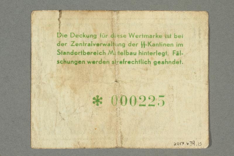 2017.639.15 back Mittelbau forced labor camp scrip, 1 Reichsmark note