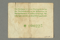 2017.639.15 back Mittelbau forced labor camp scrip, 1 Reichsmark note  Click to enlarge