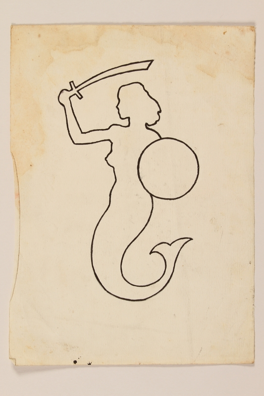 2012.471.86 front Drawing of the Warsaw Mermaid, emblem of Warsaw, and of the 2nd Polish Corps by a Jewish soldier