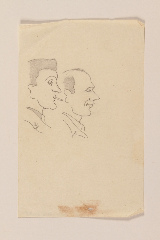 2012.471.85 front Line drawing of two men looking right with amusement by a Jewish soldier, 2nd Polish Corps