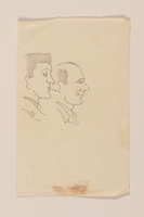 2012.471.85 front Line drawing of two men looking right with amusement by a Jewish soldier, 2nd Polish Corps  Click to enlarge