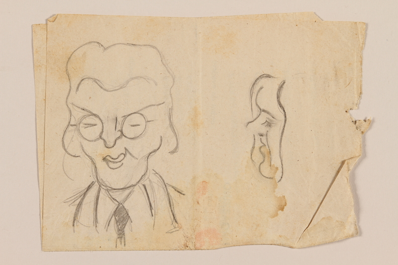 2012.471.89 front Double sided drawing with sketches of four friends by a Jewish soldier, 2nd Polish corps