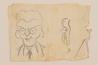 2012.471.89 front Double sided drawing with sketches of four friends by a Jewish soldier, 2nd Polish corps  Click to enlarge
