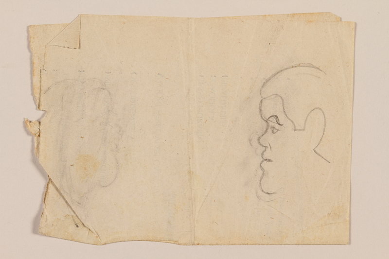 2012.471.89 back Double sided drawing with sketches of four friends by a Jewish soldier, 2nd Polish corps