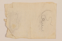 2012.471.89 back Double sided drawing with sketches of four friends by a Jewish soldier, 2nd Polish corps  Click to enlarge