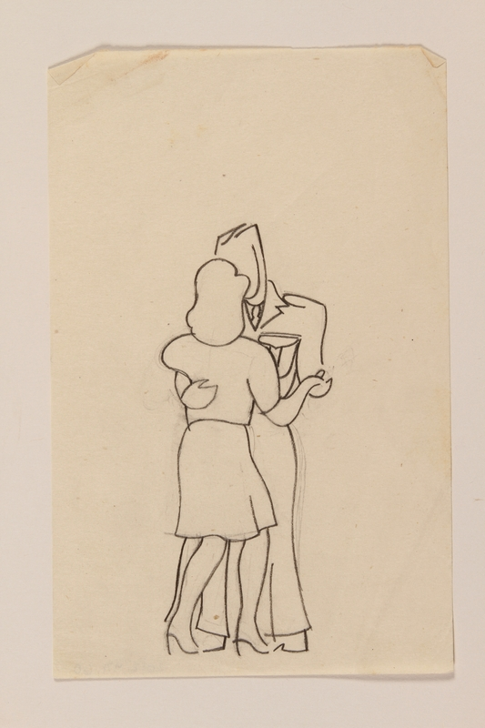 2012.471.60 front Small line drawing of a woman and a soldier dancing by a  young Jewsh soldier, 2nd Polish Corps