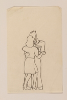 2012.471.60 front Small line drawing of a woman and a soldier dancing by a  young Jewsh soldier, 2nd Polish Corps  Click to enlarge