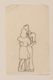 Small line drawing of a woman and a soldier dancing by a  young Jewsh soldier, 2nd Polish Corps