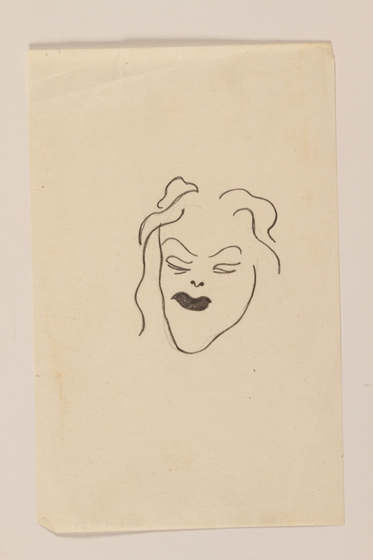 2012.471.59 front Small pencil  lin drawing portrait of a woman wearing lipstick by a Jewish soldier, 2nd Polish Corps
