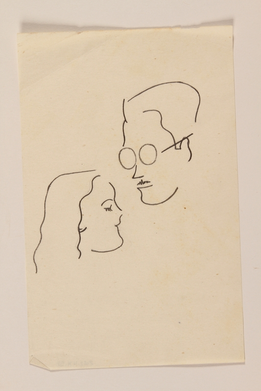 2012.471.58 front Line drawing of a man with glasses and a woman drawn by a young Jewish soldier, 2nd Polish Corps
