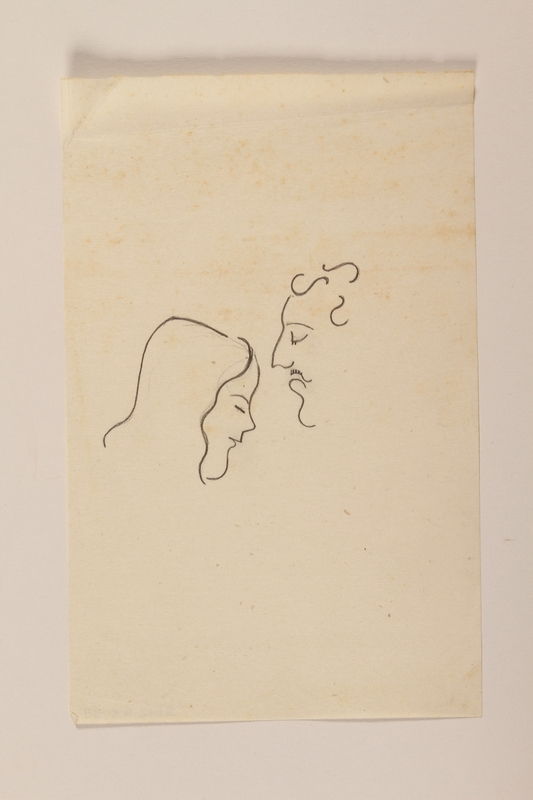 2012.471.57 front Line drawing of a young woman and a moustached man drawn by a Jewish soldier, 2nd Polish Corps