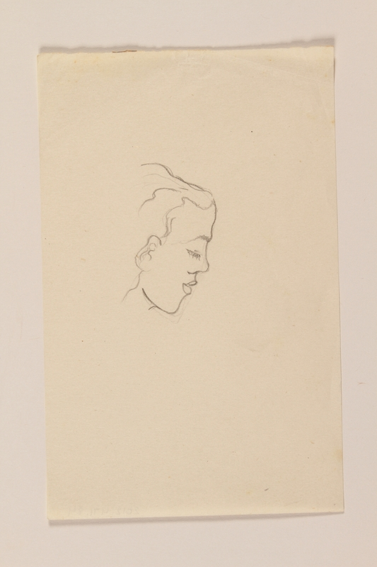 2012.471.84 front Portrait sketch in ink of a sensual woman's face in right profile by a Jewish soldier, 2nd Polish Corps