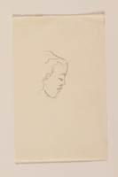2012.471.84 front Portrait sketch in ink of a sensual woman's face in right profile by a Jewish soldier, 2nd Polish Corps  Click to enlarge