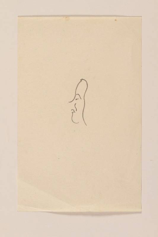 2012.471.83 front Line drawing of a woman's face by a Jewish soldier, 2nd Polish Corps