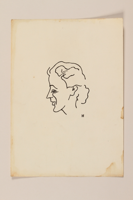 2012.471.81 front Portrait sketch in ink of a woman in left profile by a Jewish soldier, 2nd Polish Corps