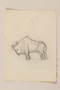 Pencil sketch of a horned bull drawn by a Jewish soldier, 2nd Polish Corps