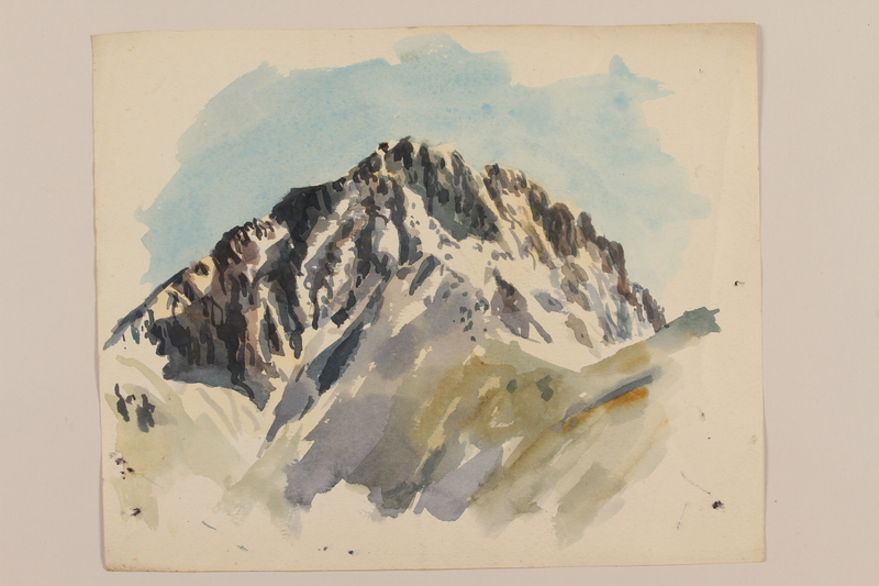 2012.471.88 front Watercolor of rocky snow covered mountains by a Jewish soldier, 2nd Polish corps