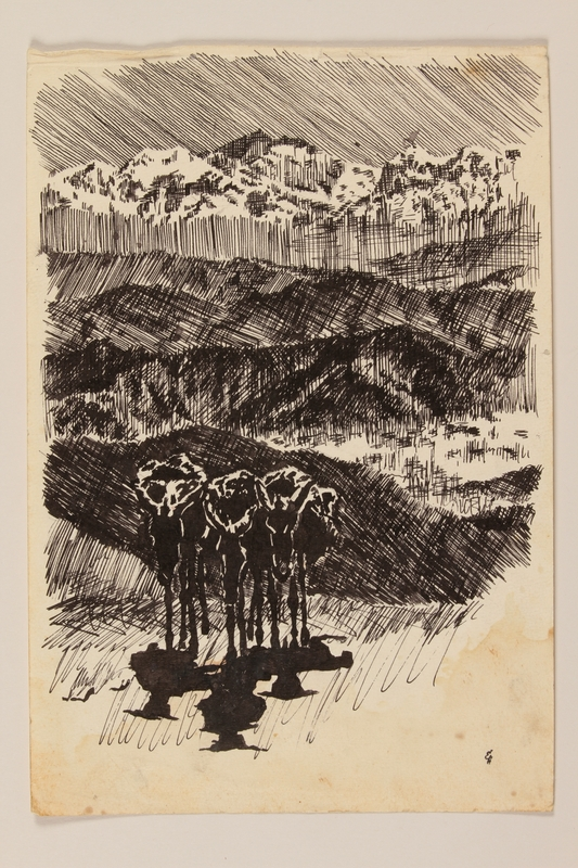 2012.471.77 front Drawing of a 3 donkeys with packs in the mountains created by a Jewish soldier, 2nd Polish Corps