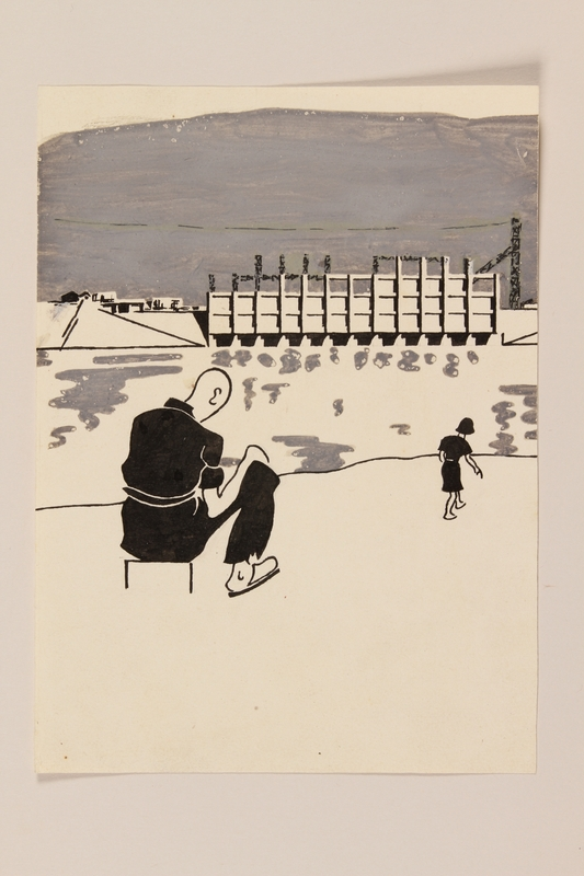 2012.471.76 front Autobiographical drawing of a forced laborer at a hydroelectric plant by a young Jewish soldier, 2nd Polish Corps