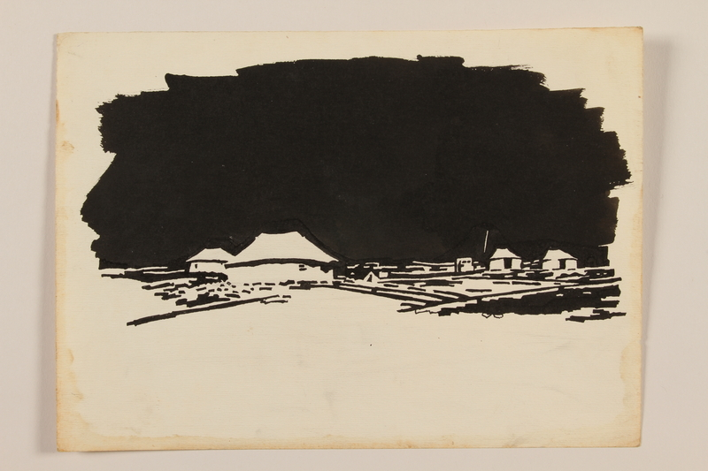 2012.471.79 front Ink illustration of a British encampment by a Jewish soldier, 2nd Polish Corps