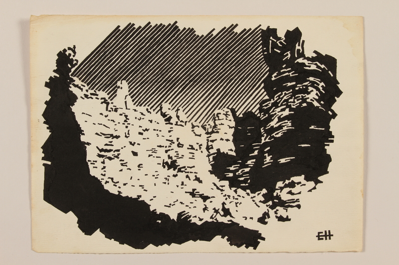 2012.471.73 front Ink drawing of mountain cliffs in Italy by a young Jewish soldier, 2nd Polish Corps