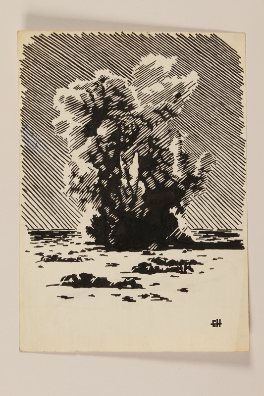 2012.471.72 front Illustration of a mortar explosion as soldiers hit the beach by a Jewish soldier, 2nd Polish Corps