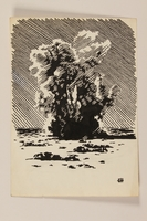 2012.471.72 front Illustration of a mortar explosion as soldiers hit the beach by a Jewish soldier, 2nd Polish Corps  Click to enlarge