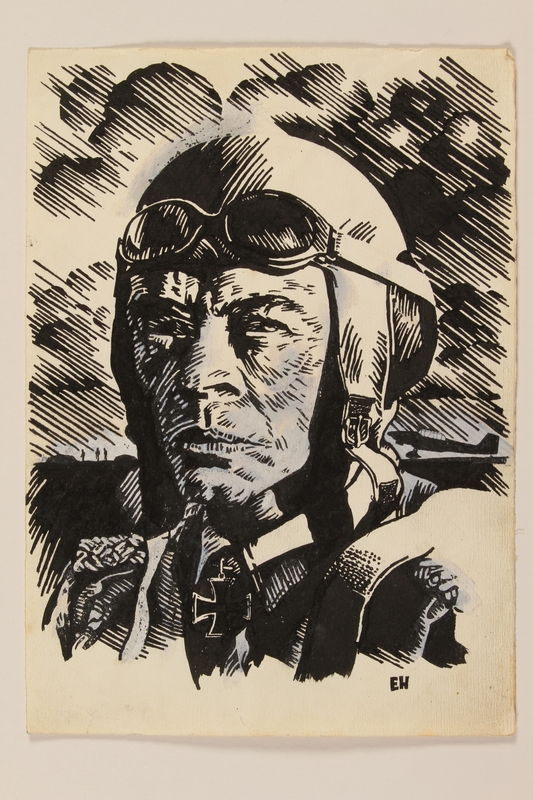 2012.471.71 front Ink portrait of a grimfaced German pilot by a Jewish soldier, 2nd Polish Corps