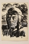 Ink portrait of a grimfaced German pilot by a Jewish soldier, 2nd Polish Corps