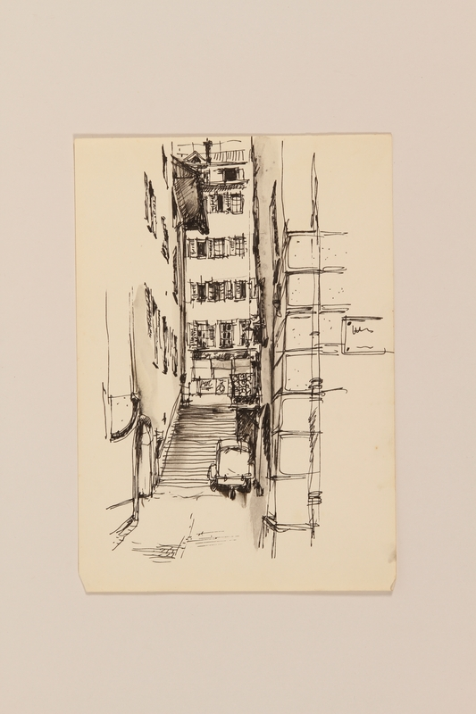 2012.471.167 open Portfolio of architectural drawings of Italy done by a Jewish soldier, 2nd Polish Corps