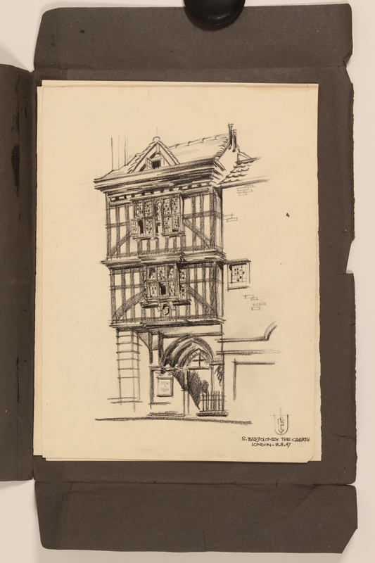 2012.471.170 St. Bartholomew the Great Portfolio of 4 drawings of London buildings by a Jewish veteran, 2nd Polish Corps