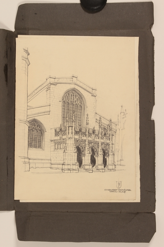 2012.471.170 St. Margaret - Westminster Portfolio of 4 drawings of London buildings by a Jewish veteran, 2nd Polish Corps