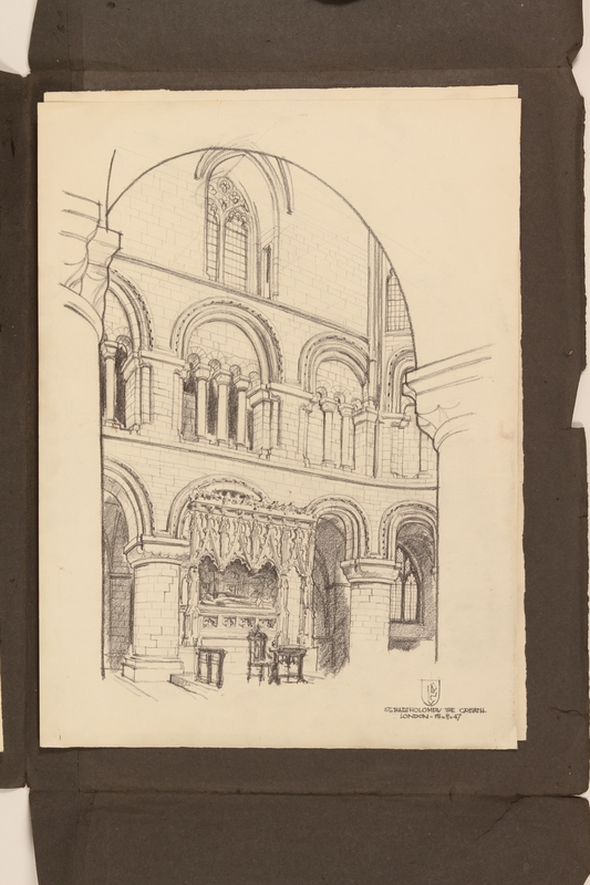 2012.471.170 St. Bartholomew the Great interior Portfolio of 4 drawings of London buildings by a Jewish veteran, 2nd Polish Corps