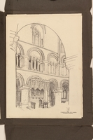 2012.471.170 St. Bartholomew the Great interior Portfolio of 4 drawings of London buildings by a Jewish veteran, 2nd Polish Corps  Click to enlarge
