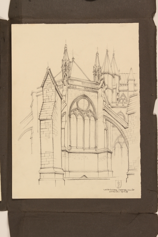 2012.471.170 Westminster - Chapel House Portfolio of 4 drawings of London buildings by a Jewish veteran, 2nd Polish Corps