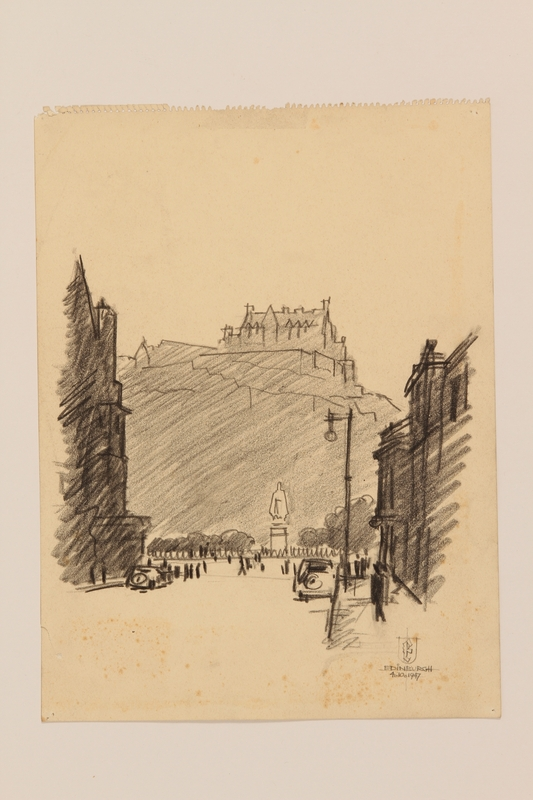 2012.471.171 open Portfolio of drawings of Edinburgh by a Jewish veteran, 2nd Polish Corps