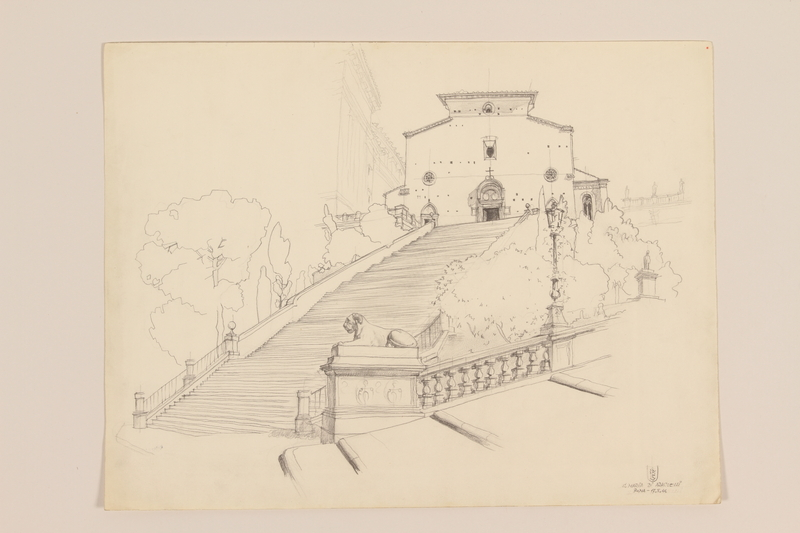 2012.471.169 S. Maria di Aracoeli Portfolio of 11 drawings of Roman buildings by a Jewish soldier, 2nd Polish Corps