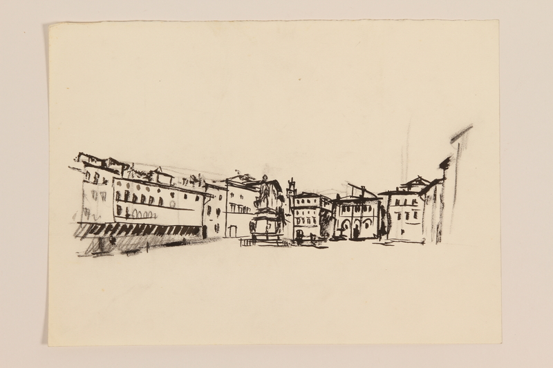 2012.471.169 Unknown Piazza Portfolio of 11 drawings of Roman buildings by a Jewish soldier, 2nd Polish Corps