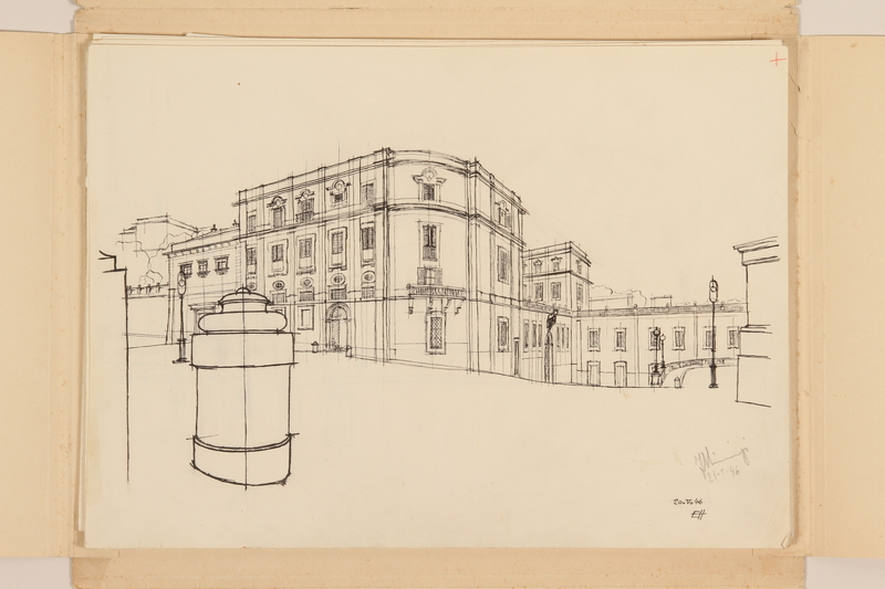 2012.471.168 Scuderie del Quirinale [Papal Stables] Portfolio of architectural studies of 2 sites in Rome by a Jewish soldier, 2nd Polish Corps