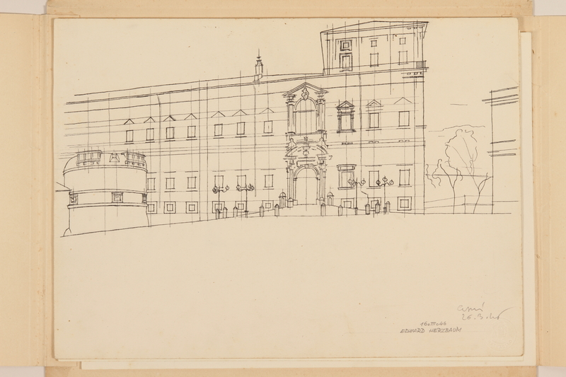 2012.471.168 Palazzo del Quirinale Portfolio of architectural studies of 2 sites in Rome by a Jewish soldier, 2nd Polish Corps