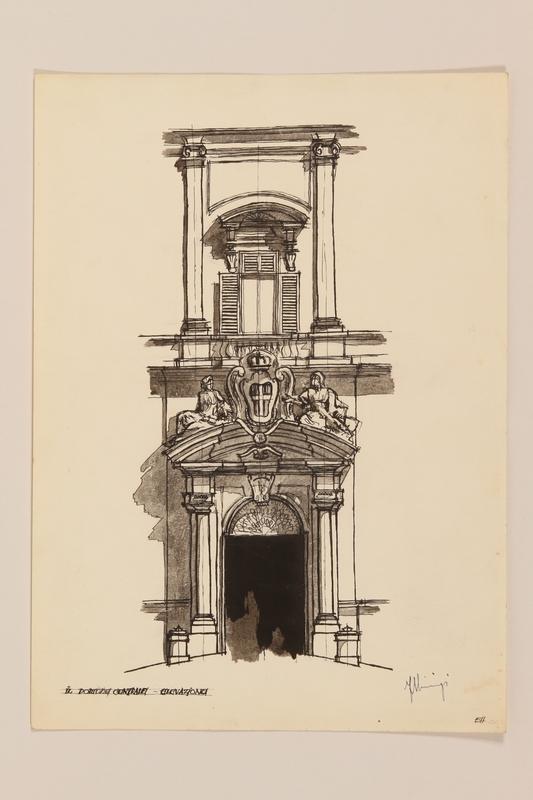 2012.471.168 Il Portone Centrale Elevazione, Pialazzo della Consulta Portfolio of architectural studies of 2 sites in Rome by a Jewish soldier, 2nd Polish Corps
