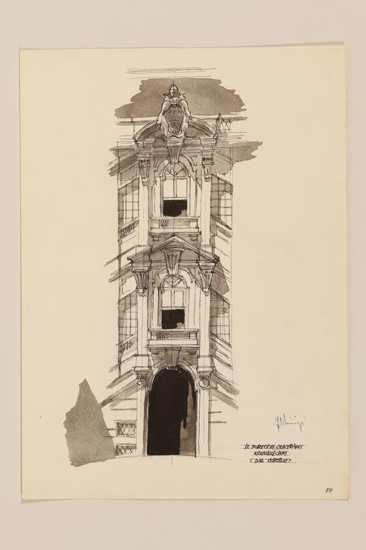 2012.471.168 Il Portone Centrale dal Cortile, Palazzo della Consulta Portfolio of architectural studies of 2 sites in Rome by a Jewish soldier, 2nd Polish Corps