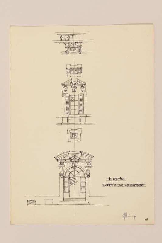 2012.471.168 Il Cortile Portone Sud - Elevazione, Palazzo della Consulta Portfolio of architectural studies of 2 sites in Rome by a Jewish soldier, 2nd Polish Corps
