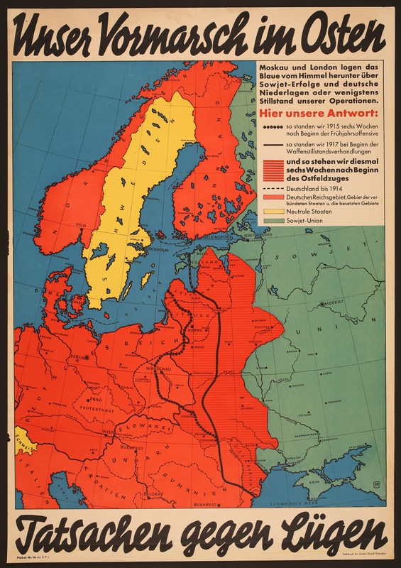 2018.236.1 front German propaganda poster showing a colored map of Eastern and Northern Europe